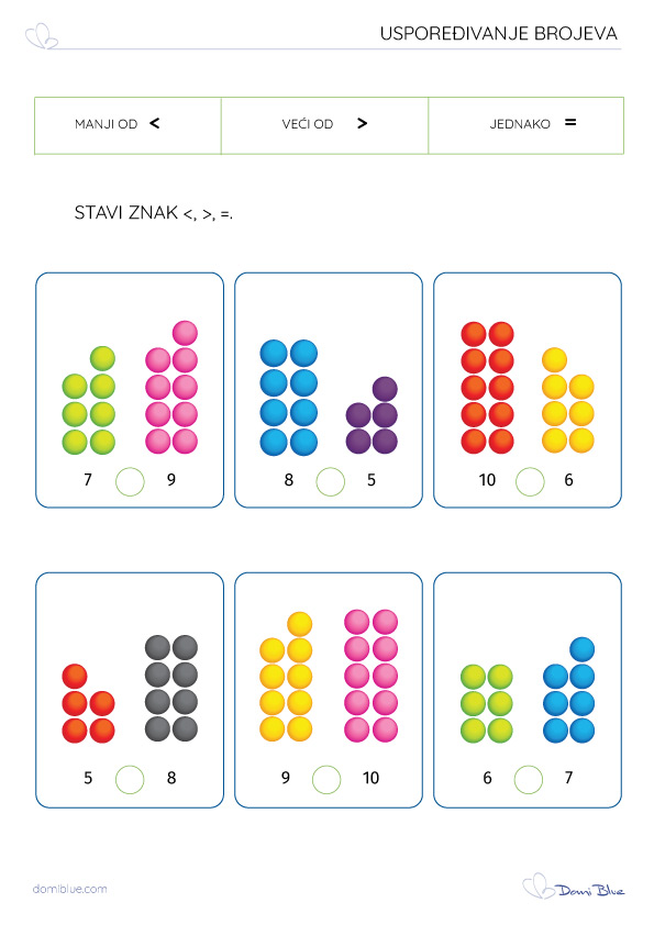 Uspoređivanje do 10 sa sličicama lopticama