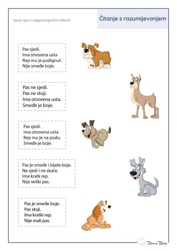 Pronađi odgovarajuću sliku psa prema opisu