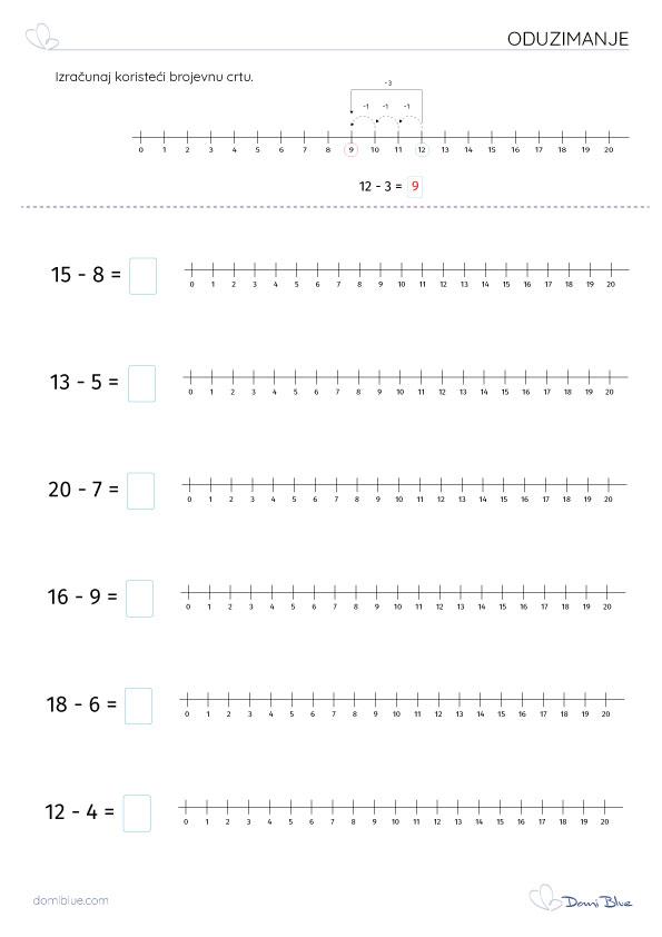 oduzimanje brojeva do 20 na brojevnom pravcu